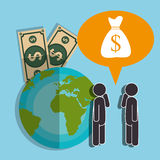 Financial growth up and money. Graphic design with icons, vector illustration Stock Image