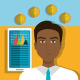 Financial growth up and money. Graphic design with icons, vector illustration Royalty Free Stock Photo