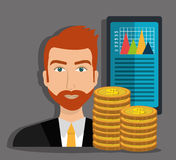 Financial growth up and money. Graphic design with icons, vector illustration Stock Photo