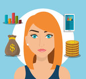 Financial growth up and money. Graphic design with icons, vector illustration Royalty Free Stock Image