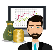 Financial growth up and money. Graphic design with icons, vector illustration Stock Photos