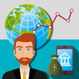 Financial growth up and money. Graphic design with icons, vector illustration Stock Photography