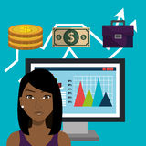 Financial growth up and money. Graphic design with icons, vector illustration Royalty Free Stock Photos