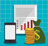 Financial growth up and money. Graphic design with icons, vector illustration Stock Images