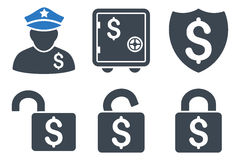 Financial Guard Flat Vector Icons Stock Image