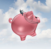 Financial Guide Success. Concept as a businessman riding and steering a  flying piggy bank to wealth as a metaphor for finance leadership  and growing profits Stock Photo