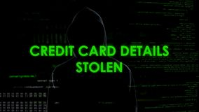 Financial hacker stealing credit card details, bank account block, money loss stock photography