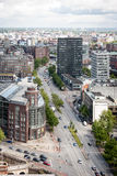 Financial Hamburg, Germany. Hamburg, Germany - June 1, 2006: An elevated view of downtown Hamburg, Germany with fiancial businesses in view along the main Stock Image
