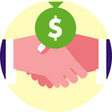 Financial handshake. Icon of two businessmen shaking hands with a bag of money/dollar sign Stock Photography