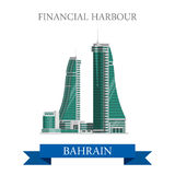 Financial Harbor Bahrain landmarks vector flat attraction travel Stock Image