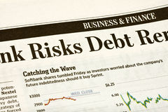 Financial Headline in the Newspaper Stock Image