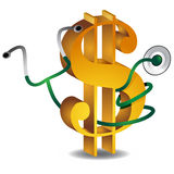 Financial Health. An image of a 3d gold dollar sign and a stethoscope Royalty Free Stock Photo