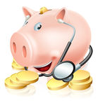 Financial health check. Conceptual illustration of a piggy bank surrounded by gold pennies wearing a stethoscope. Could also relate to medical insurance or Stock Photography