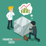 Financial health check isometric 3d vector. Businessmen listen safe using stethoscope. Finance check, stethoscope and businessman, business financial health Royalty Free Stock Images