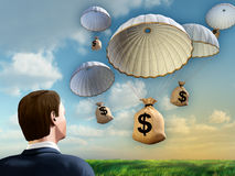 Financial help. Businessman looking at some money bags falling from the sky with a parachute. Digital illustration Stock Image