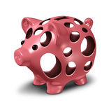 Financial Hole. Concept as a ceramic pink piggy bank with empty holes as a metaphor for a money crisis and lost savings stress Royalty Free Stock Photos