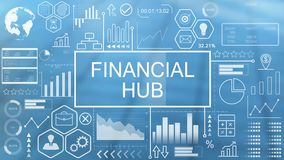 Financial Hub, Animated Typography. Concept Futuristic stock illustration