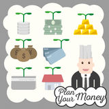 Financial icon plan money investment Stock Photos