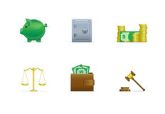 Financial icon set. Isolated financial icons on the white background Royalty Free Stock Images