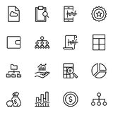 Financial icon set. Collection of high quality black outline logo for web site design and mobile apps. Vector illustration on a white background Royalty Free Stock Photography
