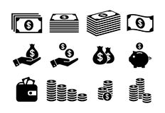 Financial icon set. Money icons. Money stack, coin stack, piggy bank, wallet with money icons Royalty Free Stock Image