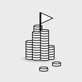 Financial icon symbol. A pile of money with a flag on top. Achie Stock Photos