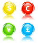 Financial icons. Set of 4 colored icons with currency signs Royalty Free Stock Photo