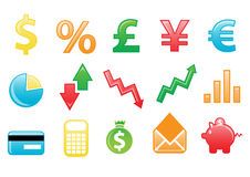 Financial icons. Vector illustration of colored financial icons. You can use it for your website, application, or presentation Royalty Free Stock Photos