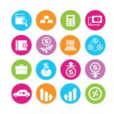 Financial icons. Financial and banking management icons in colorful round buttons Stock Photo