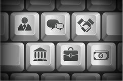 Financial Icons on Computer Keyboard Buttons Royalty Free Stock Photography