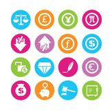 Financial icons. Financial and currency management icons in colorful round buttons Royalty Free Stock Photos