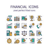 FINANCIAL ICONS : Filled outline icons , pictogram and symbol collection. Stock Image