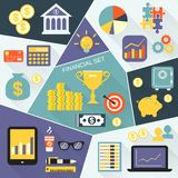 Financial icons flat set Royalty Free Stock Images