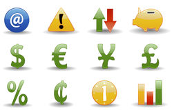 Financial icons | Glossy serie. Glossy series part 2: collection of 12 colorful financial web icons Vector Illustration