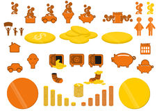 Financial Icons. For infographics in orange and yellow on a white background. Vector Royalty Free Stock Photo