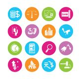 Financial icons. Financial management icons in colorful round buttons Royalty Free Stock Images