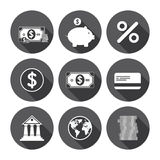 Financial Icons Monochrome Series. Money And Financial Icons Monochrome Series Stock Photo