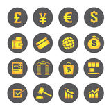 Financial icons, round buttons. Set of 16 financial icons, round buttons Stock Images