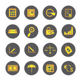 Financial icons, round buttons. Set of 16 financial icons, round buttons Stock Photo