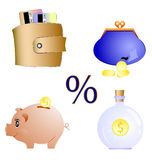 Financial icons set. Bright  illustration Stock Images
