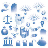 Financial icons set Stock Photos