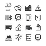 Financial icons. Set of 16 financial icons Royalty Free Stock Photography