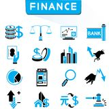 Financial icons. Set of 16 financial icons in black and blue theme Stock Photography