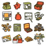 Financial Icons Set Royalty Free Stock Photography