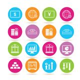 Financial icons. Set of 16 financial icons in colorful buttons Stock Image