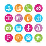 Financial icons. Set of 16 financial icons in colorful buttons Stock Photography