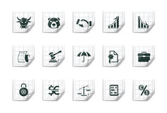 Financial icons |Sticky series. Illustration set of 15 sticky icons. Finance Royalty Free Stock Image