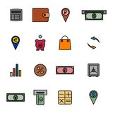 Financial icons, vector illustration. Set of colored financial icons of thin lines. Flat style, vector illustration Royalty Free Stock Photography