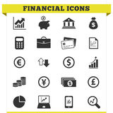 Financial Icons Vector Set. Vector set of financial and money related icons and design elements for web pages, bank, online trading and loan business services