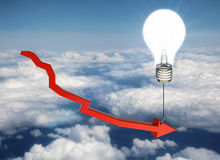 Financial ideas concept. Red chart arrow tied to glowing lamp balloon on sky background. Financial ideas concept. 3D Rendering Royalty Free Stock Photos